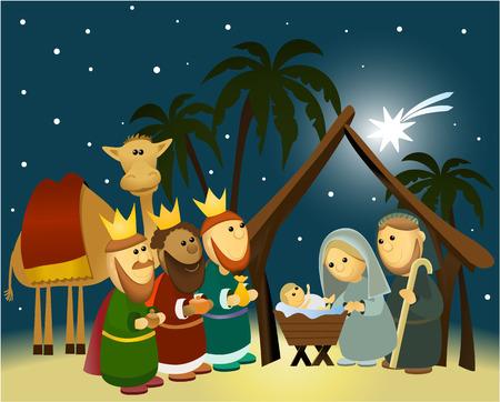 nascita di gesu: Cartoon presepe con sacra famiglia Vettoriali