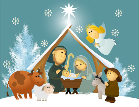 christmas religious: Cartoon nativity scene with holy family