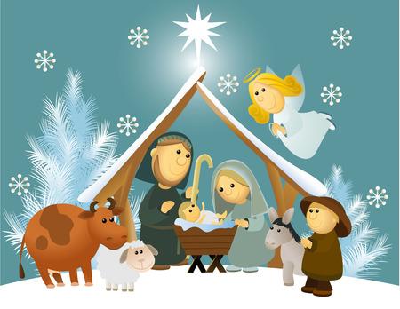 sacra famiglia: Cartoon presepe con sacra famiglia Vettoriali