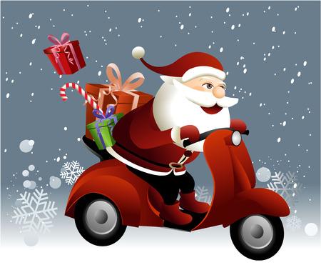 サンタ クロースがスクーターに乗って