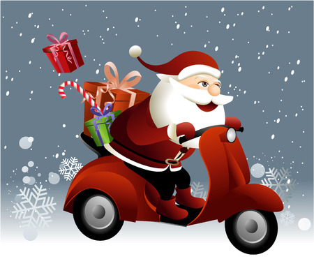 scooters: Santa Claus riding a scooter Illustration