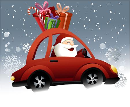 Santa Claus driving a car Stock Illustratie