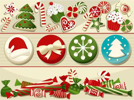 galletas de jengibre: Conjunto de la Navidad de deliciosos dulces Vectores