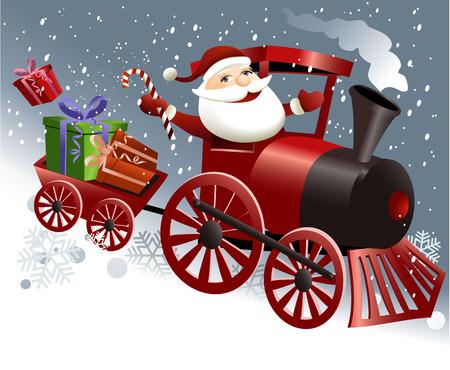 Santa Claus in train Vector