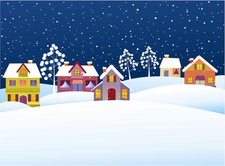 Sfondo invernale con le case dei cartoni animati Archivio Fotografico - 31724800