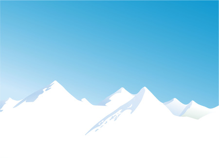 Winter landscape with mountains and blue sky Vector