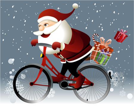 święta bożego narodzenia: Święty Mikołaj na rowerze