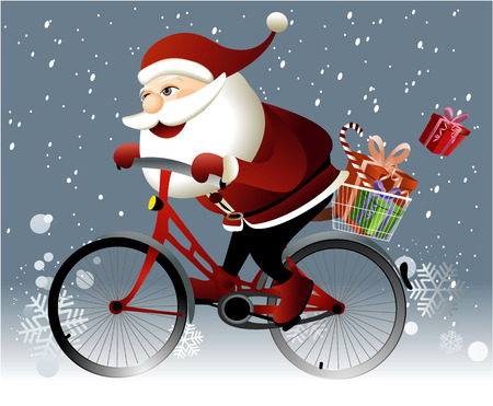 Santa Claus riding a bike Stock Illustratie