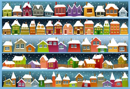 Banderas del invierno con las casas de dibujos animados