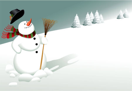 Winter background with snowman Vector