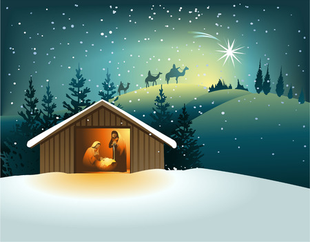 scene: Christmas nativity scene with holy family Illustration