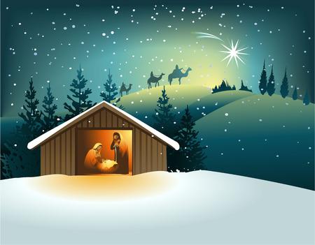 nacimiento de jesus: Pesebre de Navidad con la familia santa