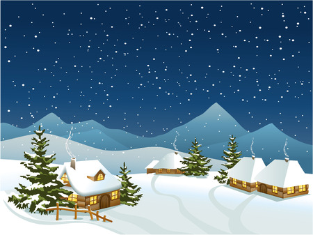 Winter rural landscape with mountains Иллюстрация