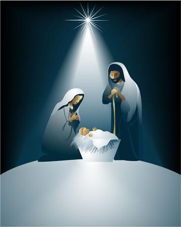 divine: Kerstmis kerststal met Heilige Familie Stock Illustratie