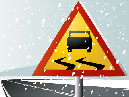 ice surface: Road sign warning of the dangers of winter Illustration
