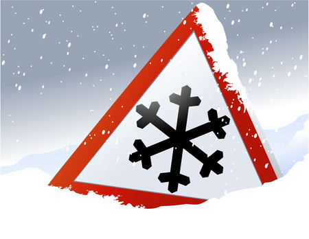 snow: Road sign warning of the dangers of winter Illustration