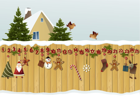 Advent calendar on fence Иллюстрация