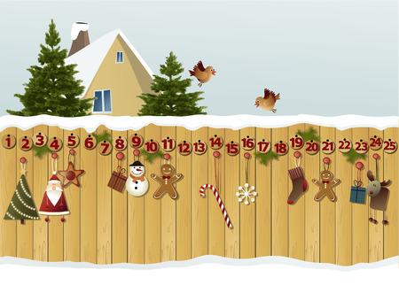 Advent calendar on fence Stock Illustratie