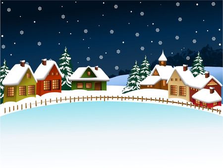 雪の冬村のクリスマス背景