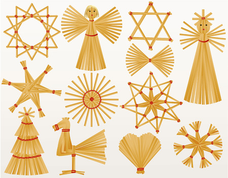 christmas angels: Christmas straw decorations Illustration