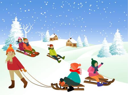 Children on a sled