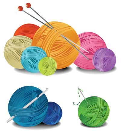 Ballen van wol Stock Illustratie