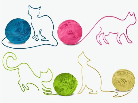 Abstract wool cats