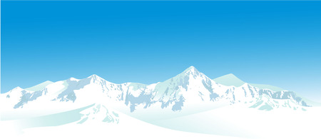 Winter landscape with high mountains Ilustracja