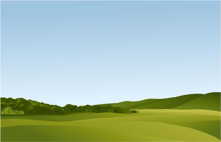 緑の丘と田園風景