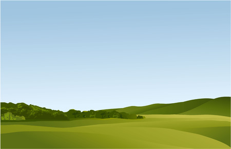 panoramic view: Rural landscape with green hills