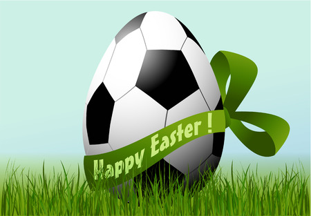 Holiday background with decorated football Easter egg