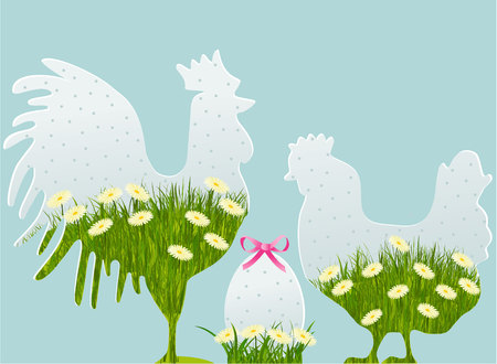 Floral Easter decorations with cock, hen and egg Vector