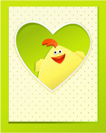 Easter card with funny chickens Vector