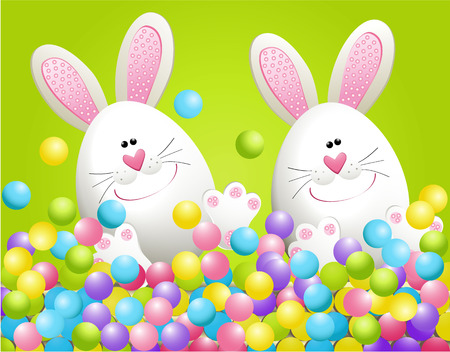 osterhase: Osterhasen in Süßigkeiten Illustration