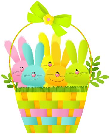 paper basket: Easter basket with bunnies