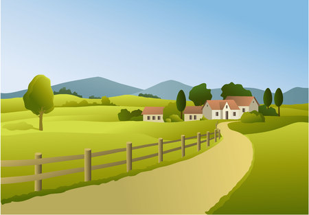 Rural landscape with country settlement Illustration