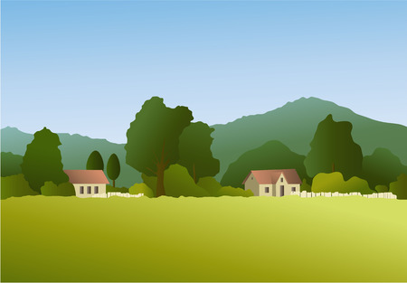 the settlement: Rural landscape with country settlement Illustration