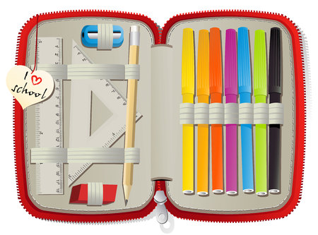 Ensemble d'accessoires scolaires dans la boîte de crayon