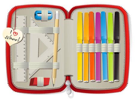 cases: Set of school accessories in pencil box