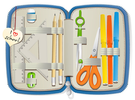 pencil box: Set of school accessories in pencil box