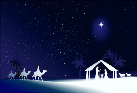 star of bethlehem: Christmas nativity scene with holy family Illustration