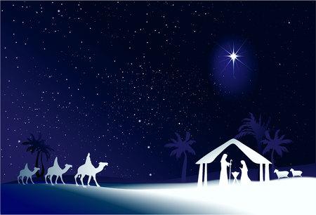 yıldız: Kutsal aile ile Noel doğum sahnesi Çizim