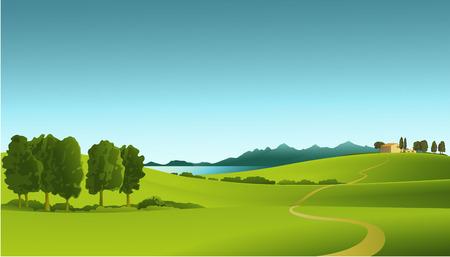 mountain landscape: rRural landscape Illustration