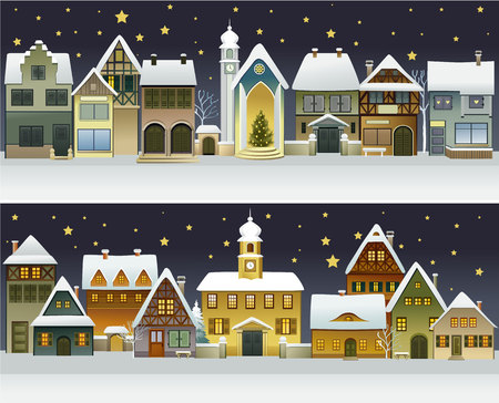 house illustration: Winter banners with cartoon houses Illustration