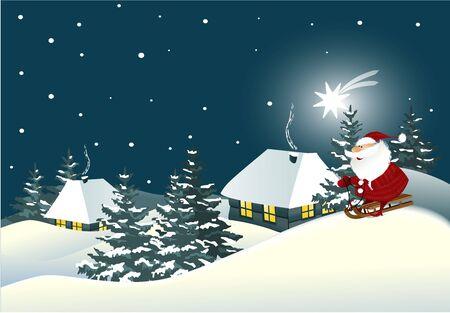 gift season: Christmas background with Santa Claus