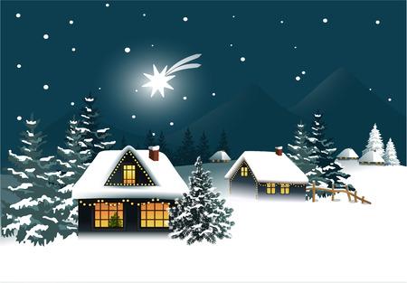 snow house: Winter Christmas landscape Illustration