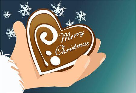 gingerbread cake: Christmas gingerbread heart Illustration