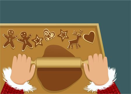 gingerbread cake: Christmas food background with gingerbreads