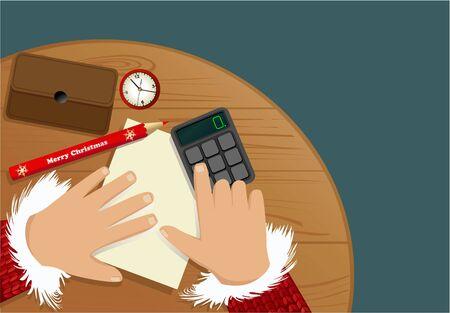 calculadora: listas de compras de Navidad Vectores