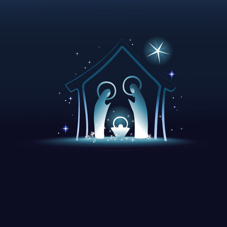 Escena de la Natividad con sagrada familia Vectores